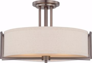 Picture of NUVO Lighting 60/4858 Gemini - 3 Light Semi Flush Fixture with Khaki Fabric Shade