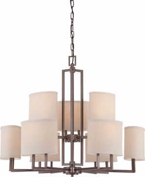 Picture of NUVO Lighting 60/4859 Gemini - 9 Light Chandelier with Khaki Fabric Shades
