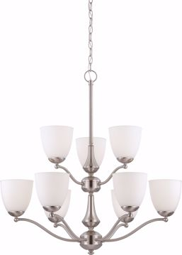 Picture of NUVO Lighting 60/5039 Patton - 9 Light - 2 Tier Chandelier with Frosted Glass