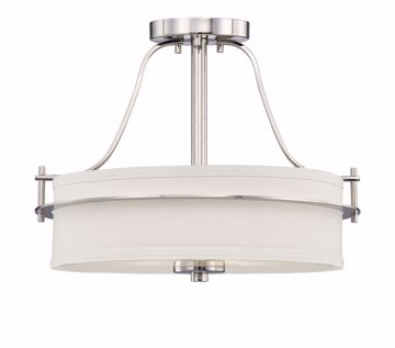 Picture of NUVO Lighting 60/5107 Loren - 2 Light Semi Flush with White Linen Shade