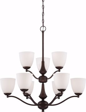 Picture of NUVO Lighting 60/5139 Patton - 9 Light - 2 Tier Chandelier with Frosted Glass