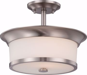 Picture of NUVO Lighting 60/5450 Mobili - 2 Light Semi Flush with Satin White Glass