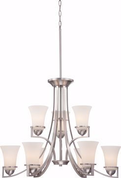 Picture of NUVO Lighting 60/5489 Neval - 9 Light - 2 Tier Chandelier with Satin White Glass