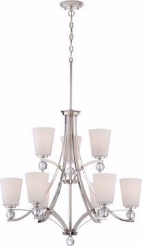 Picture of NUVO Lighting 60/5499 Connie - 9 Light - 2 Tier Chandelier with Satin White Glass