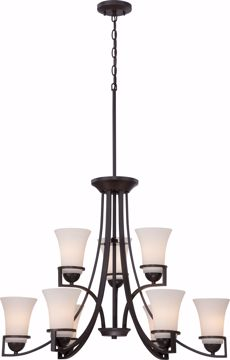 Picture of NUVO Lighting 60/5589 Neval - 9 Light - 2 Tier Chandelier with Satin White Glass