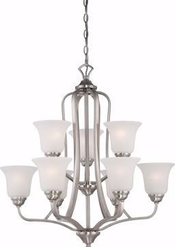 Picture of NUVO Lighting 60/5599 Elizabeth - 9 Light - 2 Tier Chandelier with Frosted Glass