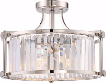Picture of NUVO Lighting 60/5763 Krys - 3 Light Crystal Semi Flush Fixture with 60w Vintage Lamps Included; Polished Nickel Finish