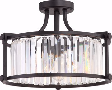 Picture of NUVO Lighting 60/5773 Krys - 3 Light Crystal Semi Flush Fixture with 60w Vintage Lamps Included; Aged Bronze Finish