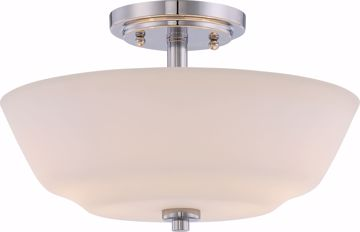 Picture of NUVO Lighting 60/5806 Willow - 2 Light Semi Flush Fixture with White Glass