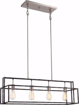 Picture of NUVO Lighting 60/5859 Lake - 4 Light Island Pendant; Iron Black with Brushed Nickel Accents Finish