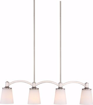 Picture of NUVO Lighting 60/5875 Laguna 4 Light Island Pendant - Brushed Nickel with White Glass