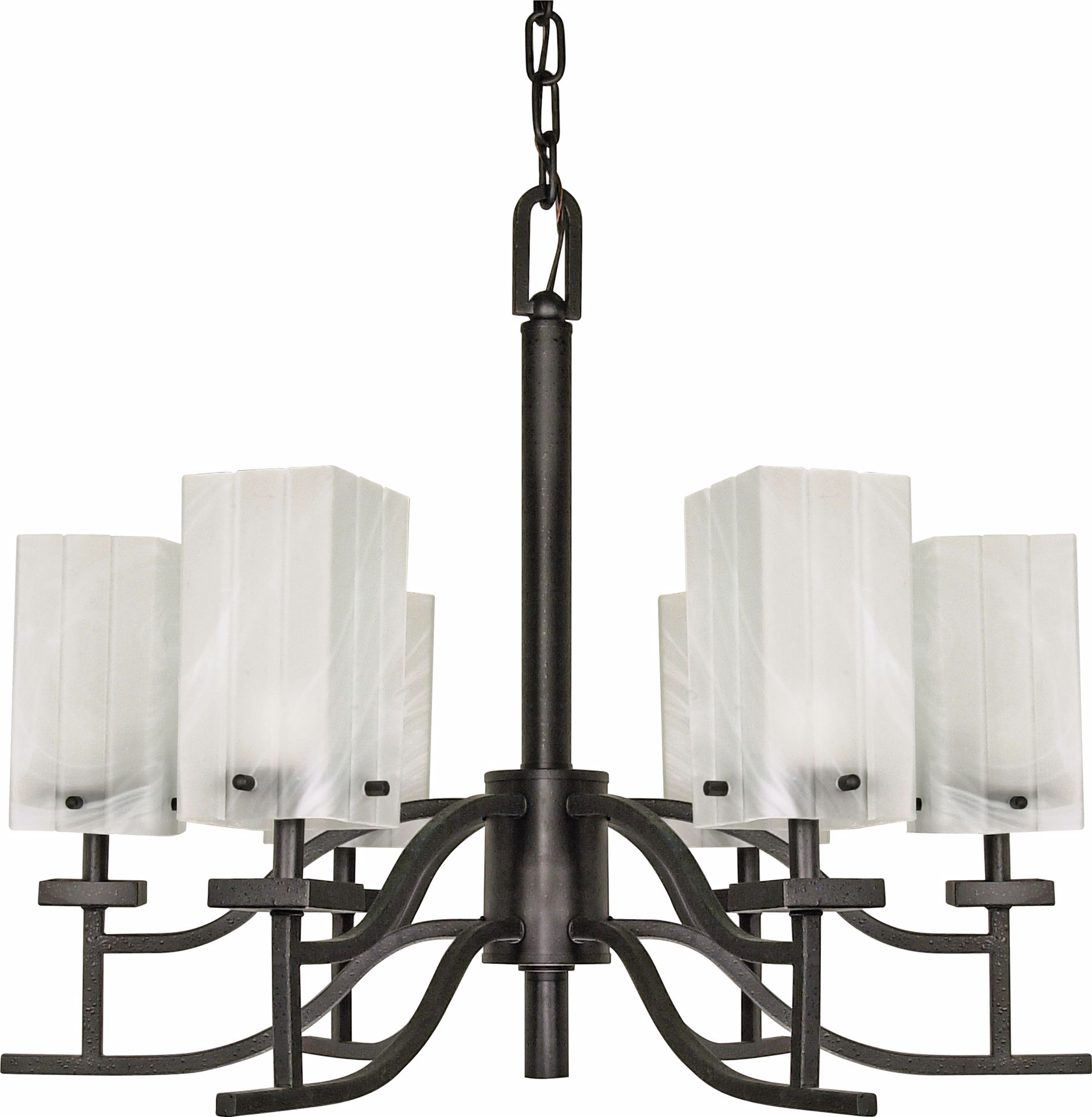 "Picture of NUVO Lighting 60/000 Cubica - 6 Light - 26"" - Chandelier - with Alabaster Glass"