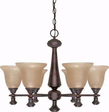 """Picture of NUVO Lighting 60/100 Mericana - 6 Light - 26"""" - Chandelier - with Amber Water Glass"""