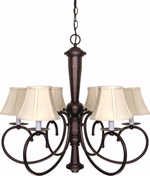 "Picture of NUVO Lighting 60/101 Mericana - 6 Light - 27"" - Chandelier - with Natural Linen Shades"