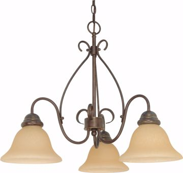 "Picture of NUVO Lighting 60/1021 Castillo - 3 Light - 26"" - Chandelier - with Champagne Linen Washed Glass"