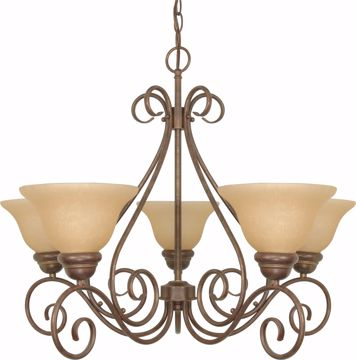 "Picture of NUVO Lighting 60/1023 Castillo - 5 Light - 28"" - Chandelier - with Champagne Linen Washed Glass"