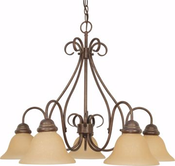 "Picture of NUVO Lighting 60/1024 Castillo - 5 Light - 28"" - Chandelier - with Champagne Linen Washed Glass"