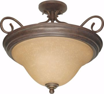 "Picture of NUVO Lighting 60/1027 Castillo - 3 Light - 19"" - Semi-Flush - with Champagne Linen Washed Glass"