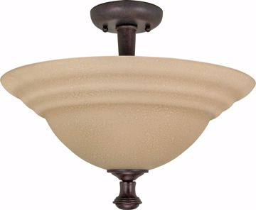 "Picture of NUVO Lighting 60/103 Mericana - 2 Light - 16"" - Semi-Flush - with Amber Water Glass"