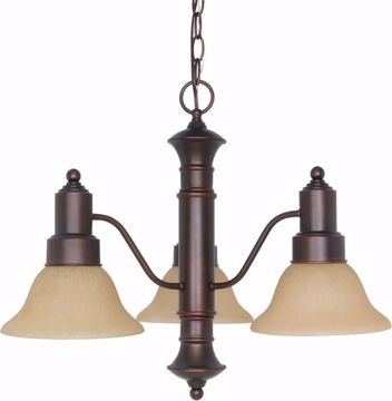 "Picture of NUVO Lighting 60/1254 Gotham 3 Light 23"" Chandelier with Champagne Linen Washed Glass"