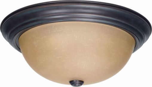 "Picture of NUVO Lighting 60/1257 3 Light 15"" Flush Mount with Champagne Linen Washed Glass"