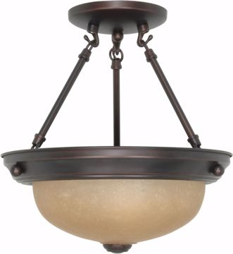 """Picture of NUVO Lighting 60/1258 2 Light 11"""" Semi Flush with Champagne Linen Washed Glass"""