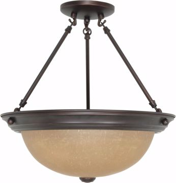 """Picture of NUVO Lighting 60/1261 3 Light 15"""" Semi Flush with Champagne Linen Washed Glass"""