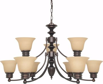 "Picture of NUVO Lighting 60/1275 Empire 9 Light 32"" Chandelier with Champagne Linen Washed Glass"