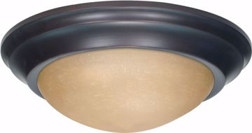 """Picture of NUVO Lighting 60/1282 2 Light 14"""" Flush Mount Twist & Lock with Champagne Linen Washed Glass"""