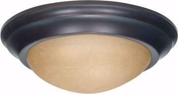 """Picture of NUVO Lighting 60/1283 3 Light 17"""" Flush Mount Twist & Lock with Champagne Linen Washed Glass"""