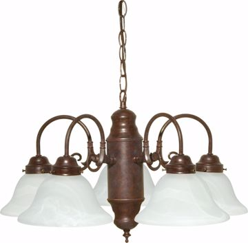 Picture of NUVO Lighting 60/1291 5 Light Chandelier Old Bronze / Alabaster Glass