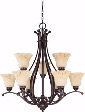 "Picture of NUVO Lighting 60/1403 Anastasia - 9 Light 2 Tier 34"" Chandelier with Honey Marble Glass"