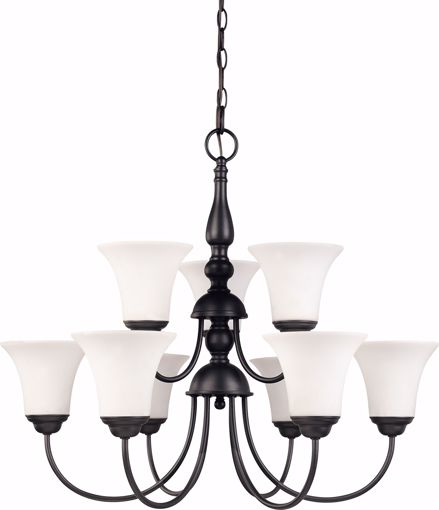 "Picture of NUVO Lighting 60/1843 Dupont - 9 light 2 Tier 27"" Chandelier with Satin White Glass"