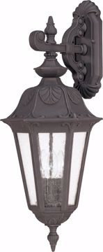 Picture of NUVO Lighting 60/2032 Cortland - 3 Light Large Wall Lantern- Arm Down with Seeded Glass