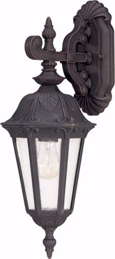 Picture of NUVO Lighting 60/2036 Cortland - 1 Light Small Wall Lantern- Arm Down with Seeded Glass