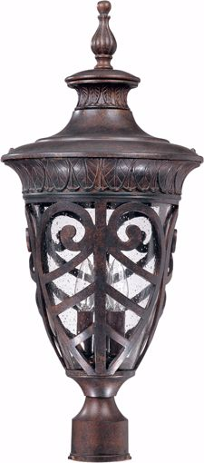 Picture of NUVO Lighting 60/2060 Aston - 3 Light Large Post Lantern with Seeded Glass