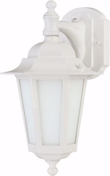 """Picture of NUVO Lighting 60/2204 Cornerstone ES - 1 Light 13"""" - CFL Wall Lantern with Satin White Glass - 13w GU24 Included"""