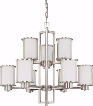 Picture of NUVO Lighting 60/2855 Odeon - 6 + 3 Light Chandelier with Satin White Glass