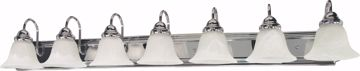 """Picture of NUVO Lighting 60/290 Ballerina - 7 Light - 48"""" - Vanity - with Alabaster Glass Bell Shades"""