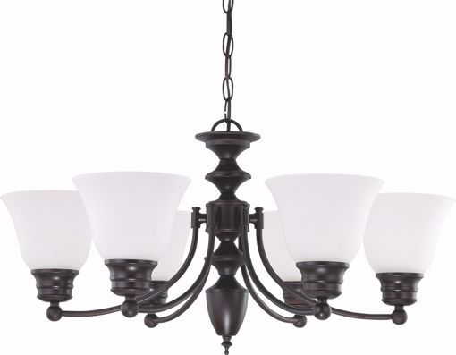 """Picture of NUVO Lighting 60/3169 Empire - 6 Light 26"""" Chandelier with Frosted White Glass"""