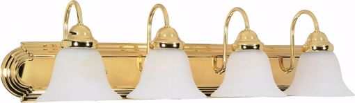 """Picture of NUVO Lighting 60/330 Ballerina - 4 Light - 30"""" - Vanity - with Alabaster Glass Bell Shades"""