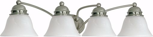 "Picture of NUVO Lighting 60/343 Empire - 4 Light - 29"" - Vanity - with Alabaster Glass Bell Shades"