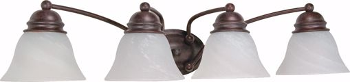 "Picture of NUVO Lighting 60/347 Empire - 4 Light - 29"" - Vanity - with Alabaster Glass Bell Shades"