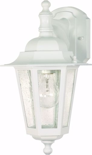 """Picture of NUVO Lighting 60/3473 Cornerstone - 1 Light - 13"""" - Wall Lantern - Arm Down with Clear Seed Glass; Color retail packaging"""