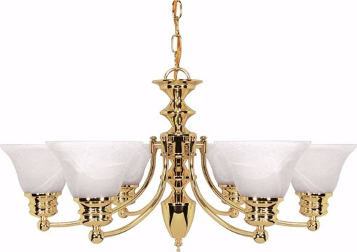 "Picture of NUVO Lighting 60/357 Empire - 6 Light - 26"" - Chandelier - with Alabaster Glass Bell Shades"