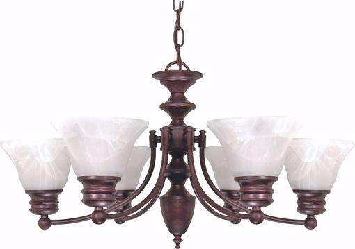 """Picture of NUVO Lighting 60/358 Empire - 6 Light - 26"""" - Chandelier - with Alabaster Glass Bell Shades"""