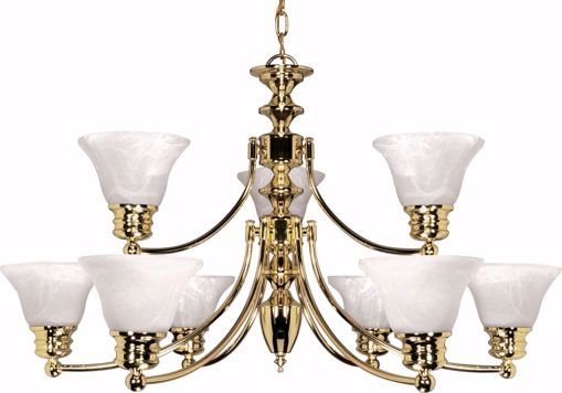 "Picture of NUVO Lighting 60/361 Empire - 9 Light - 32"" - Chandelier - with Alabaster Glass Bell Shades; 2 Tier"