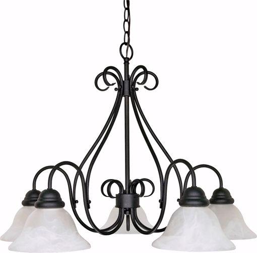 """Picture of NUVO Lighting 60/381 Castillo - 5 Light - 28"""" - Chandelier - with Alabaster Swirl Glass"""