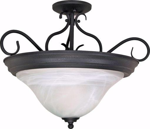 "Picture of NUVO Lighting 60/384 Castillo - 3 Light - 19"" - Semi-Flush - with Alabaster Swirl Glass"