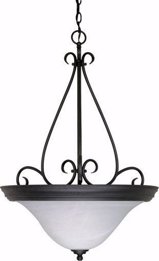 "Picture of NUVO Lighting 60/385 Castillo - 3 Light - 19"" - Pendant - with Alabaster Swirl Glass"